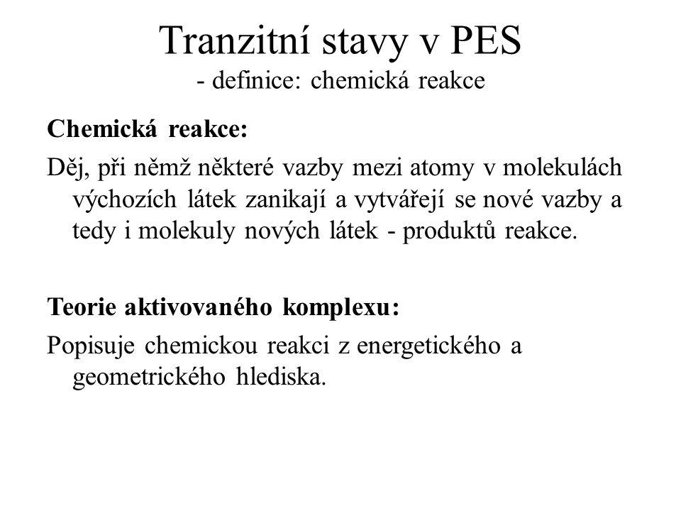 Tranzitní stavy v PES - definice: chemická reakce
