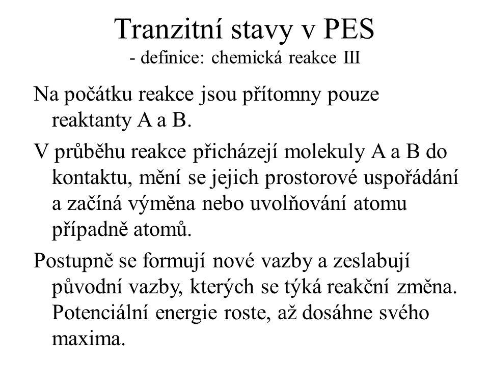 Tranzitní stavy v PES - definice: chemická reakce III