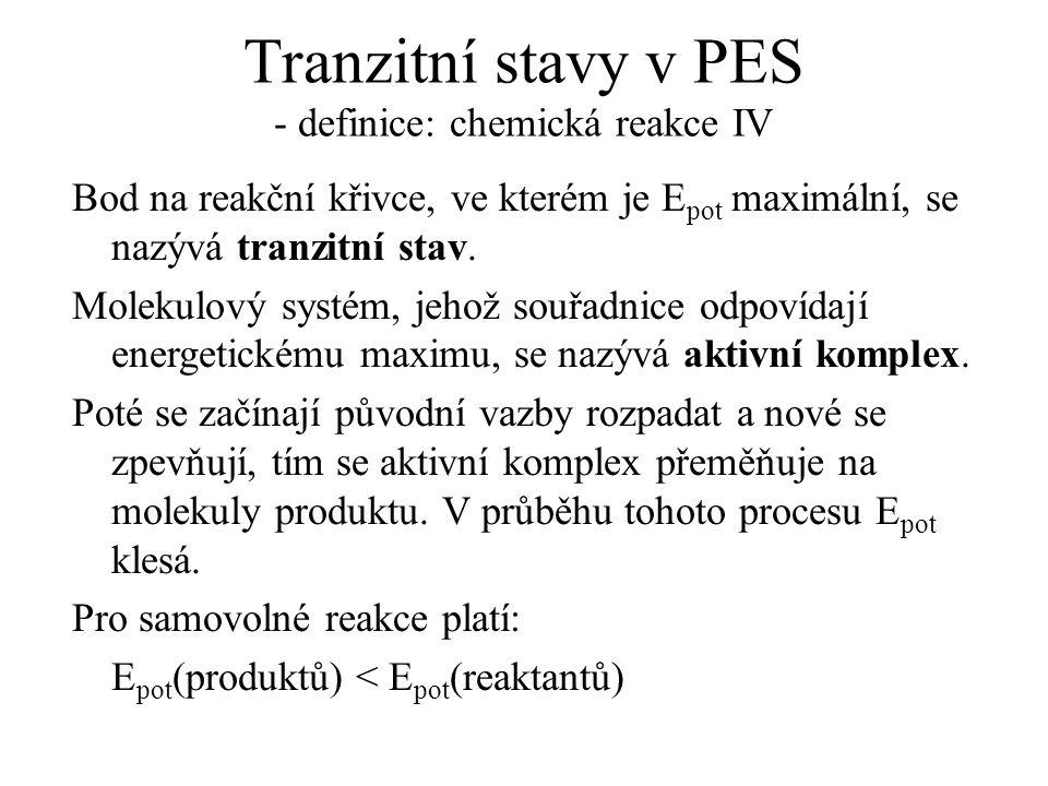 Tranzitní stavy v PES - definice: chemická reakce IV