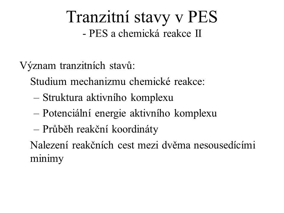 Tranzitní stavy v PES - PES a chemická reakce II