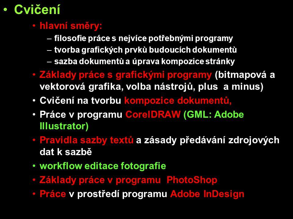 Cvičení hlavní směry: filosofie práce s nejvíce potřebnými programy. tvorba grafických prvkù budoucích dokumentù.