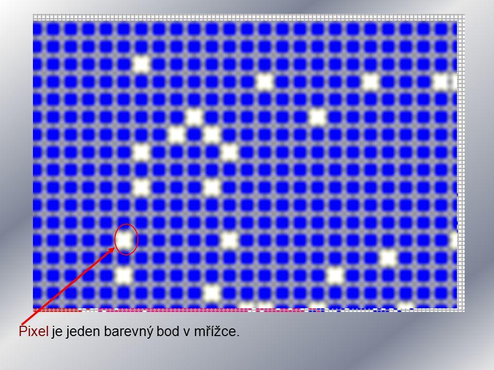 Pixel je jeden barevný bod v mřížce.