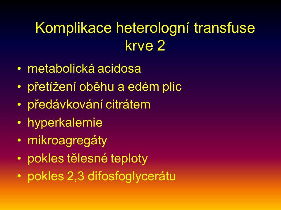 Komplikace heterologní transfuse krve 2