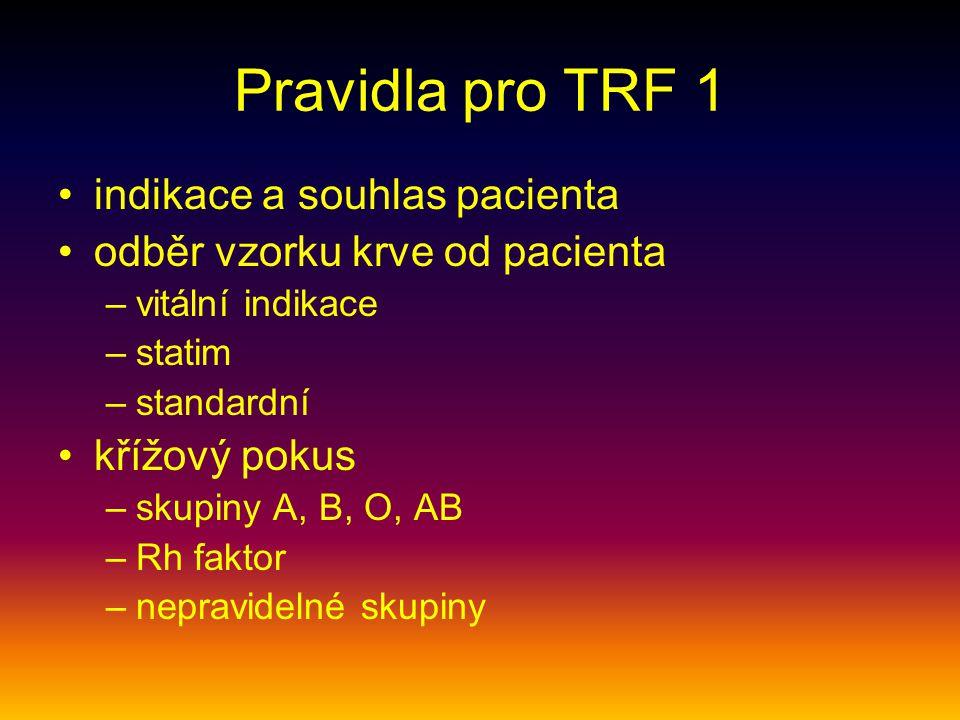 Pravidla pro TRF 1 indikace a souhlas pacienta
