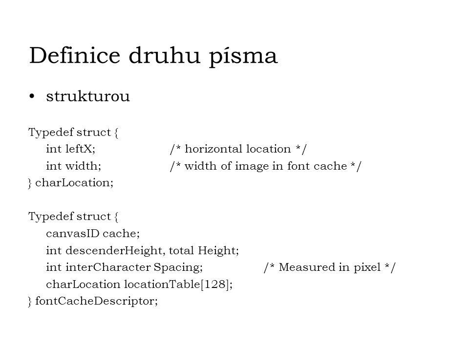 Definice druhu písma strukturou Typedef struct {