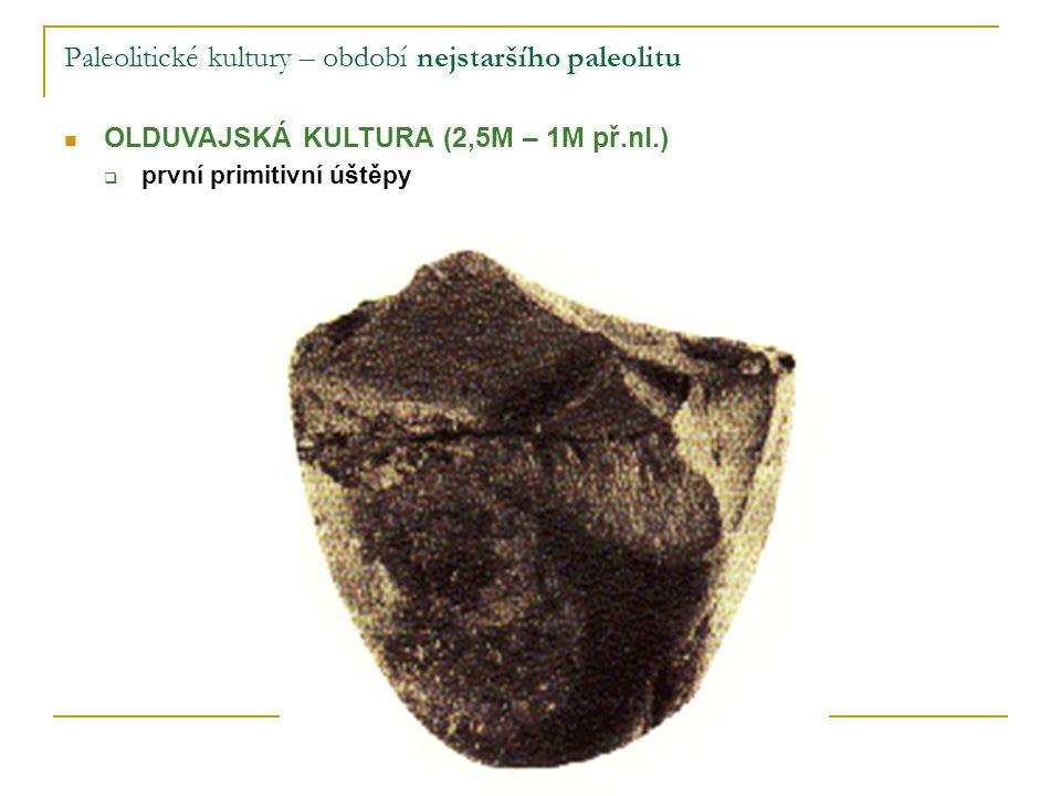 Paleolitické kultury – období nejstaršího paleolitu