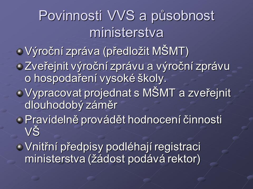 Povinnosti VVS a působnost ministerstva