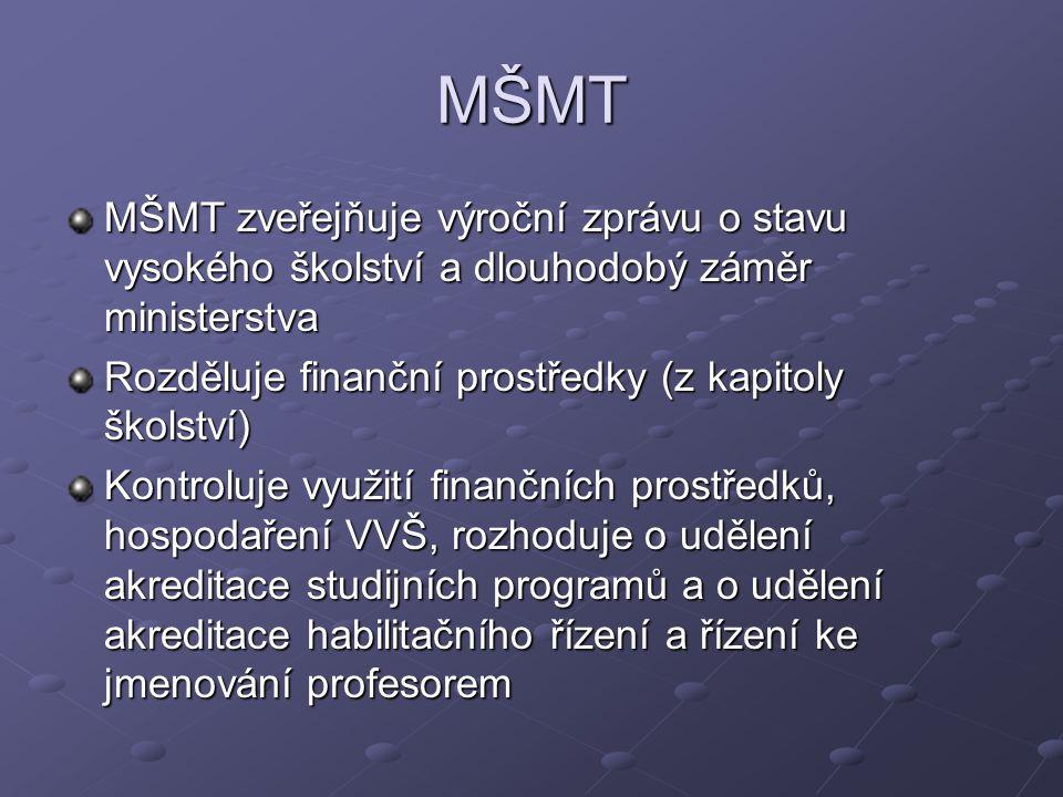 MŠMT MŠMT zveřejňuje výroční zprávu o stavu vysokého školství a dlouhodobý záměr ministerstva. Rozděluje finanční prostředky (z kapitoly školství)