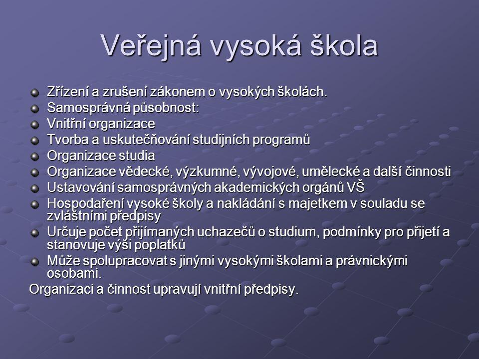 Veřejná vysoká škola Zřízení a zrušení zákonem o vysokých školách.