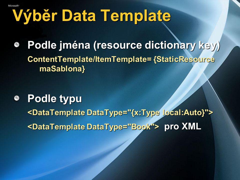 Výběr Data Template Podle jména (resource dictionary key) Podle typu