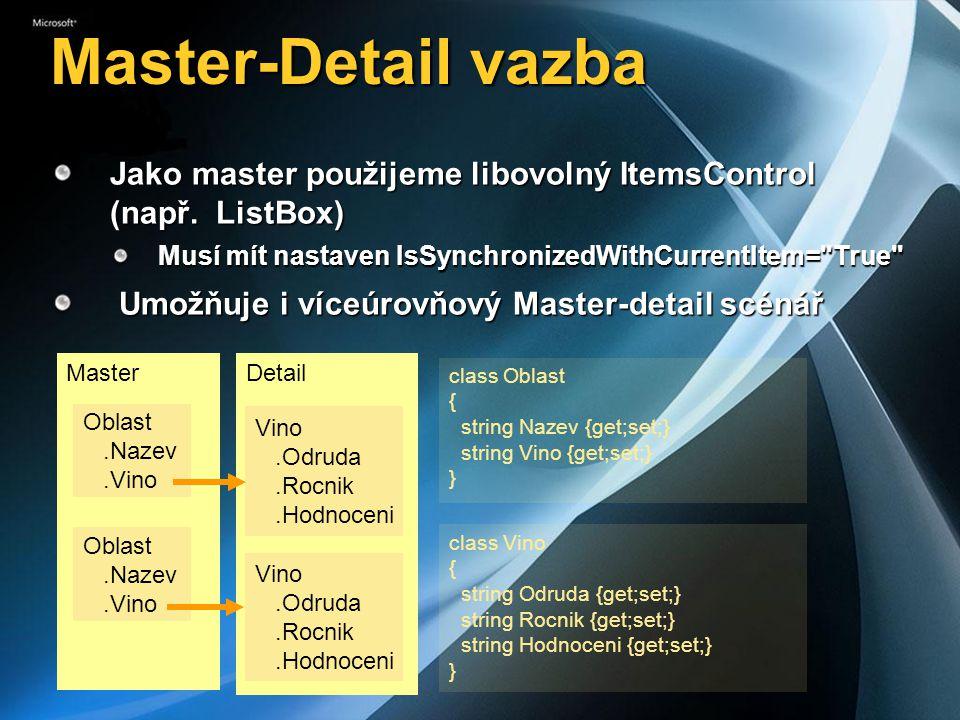 Master-Detail vazba Jako master použijeme libovolný ItemsControl (např. ListBox) Musí mít nastaven IsSynchronizedWithCurrentItem= True