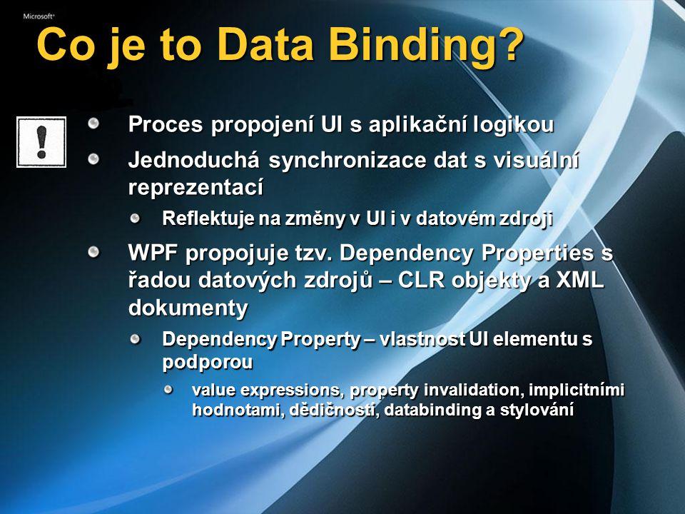 Co je to Data Binding Proces propojení UI s aplikační logikou