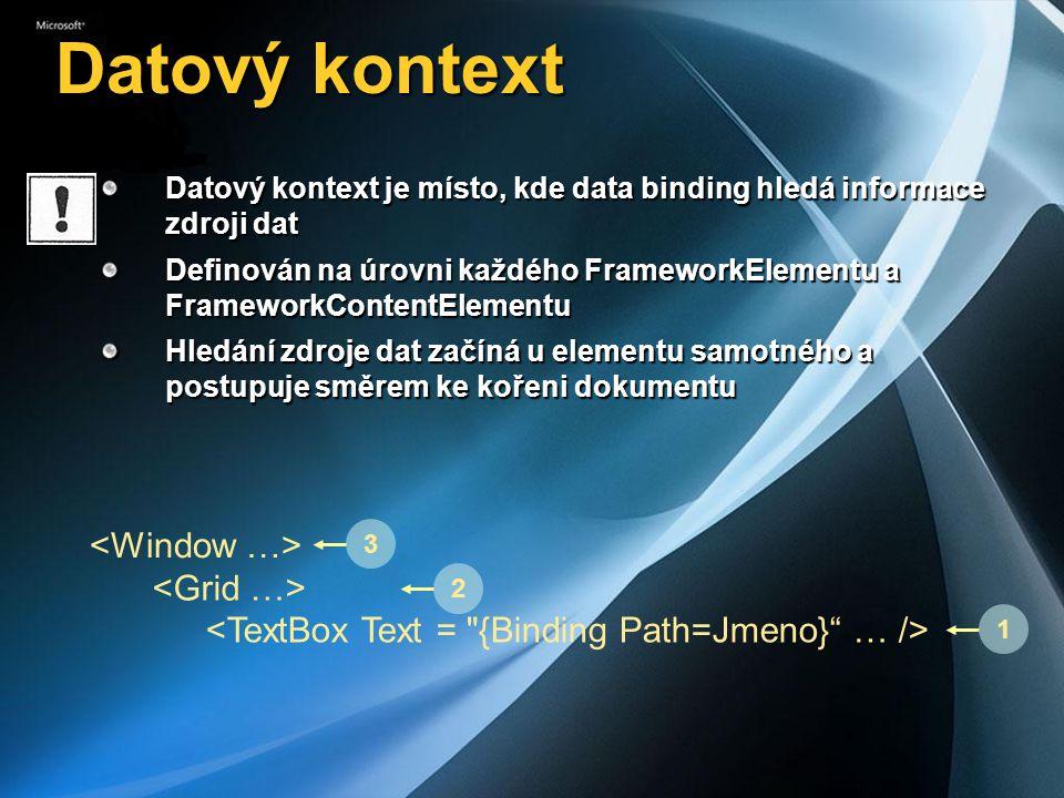 Datový kontext <Window …> <Grid …>