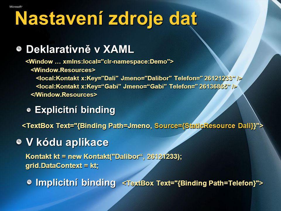 Nastavení zdroje dat Deklarativně v XAML V kódu aplikace