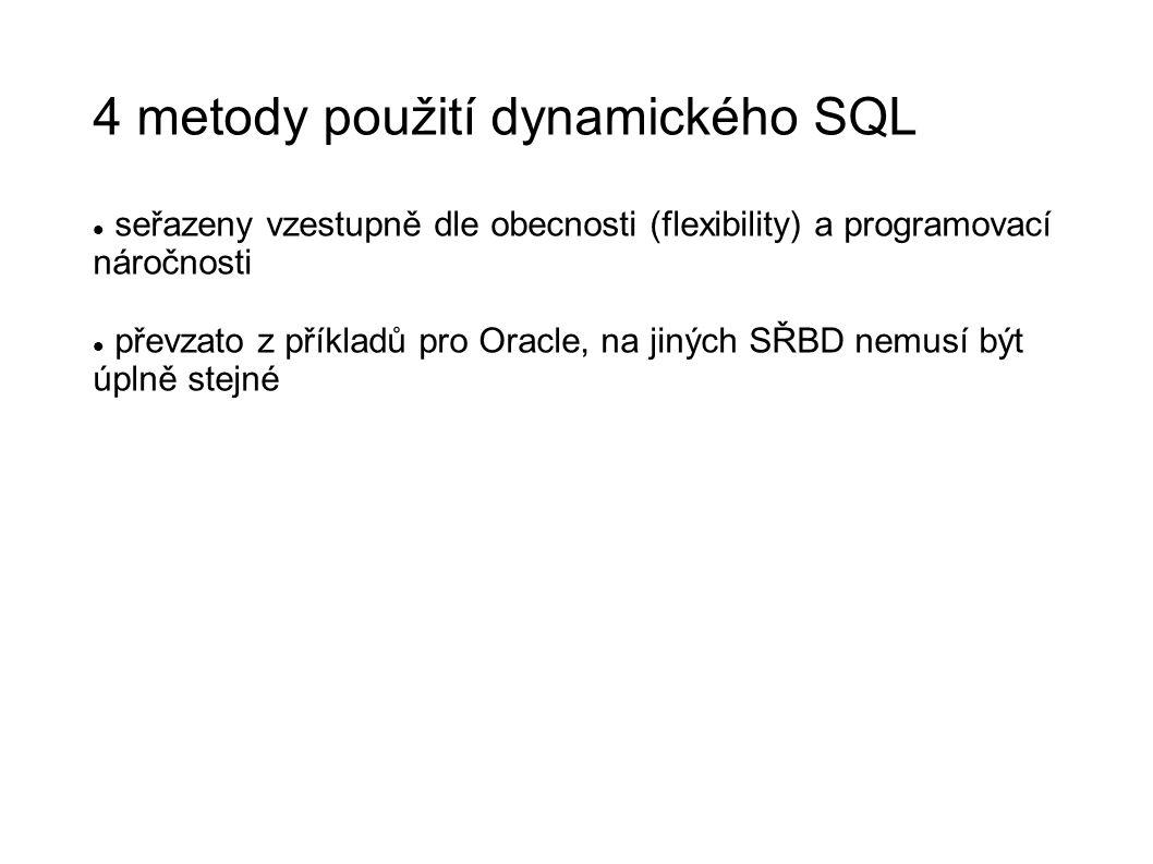 4 metody použití dynamického SQL