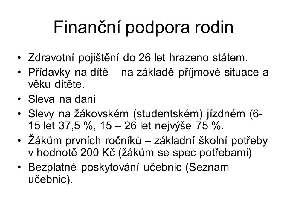 Finanční podpora rodin