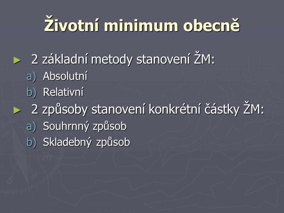 Životní minimum obecně
