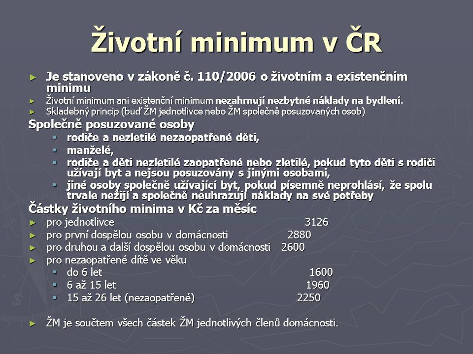 Životní minimum v ČR Je stanoveno v zákoně č. 110/2006 o životním a existenčním minimu.