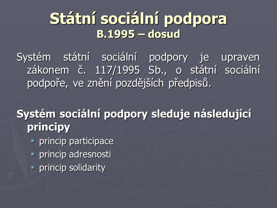 Státní sociální podpora B.1995 – dosud