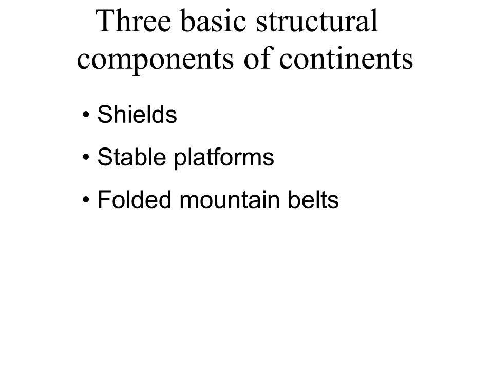 Three basic structural components of continents