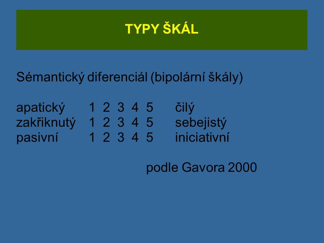 TYPY ŠKÁL Sémantický diferenciál (bipolární škály) apatický 1 2 3 4 5 čilý. zakřiknutý 1 2 3 4 5 sebejistý.