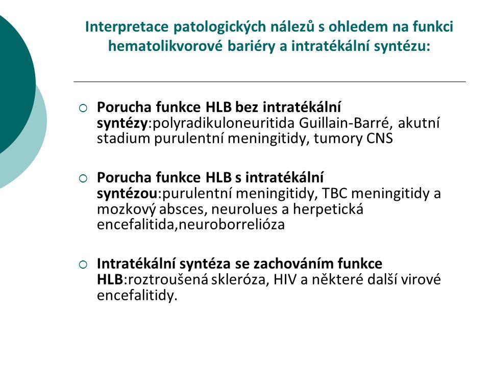 Interpretace patologických nálezů s ohledem na funkci hematolikvorové bariéry a intratékální syntézu: