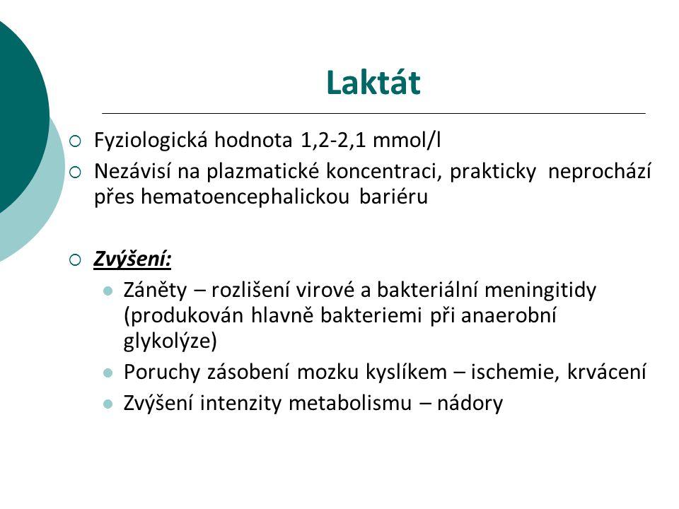 Laktát Fyziologická hodnota 1,2-2,1 mmol/l
