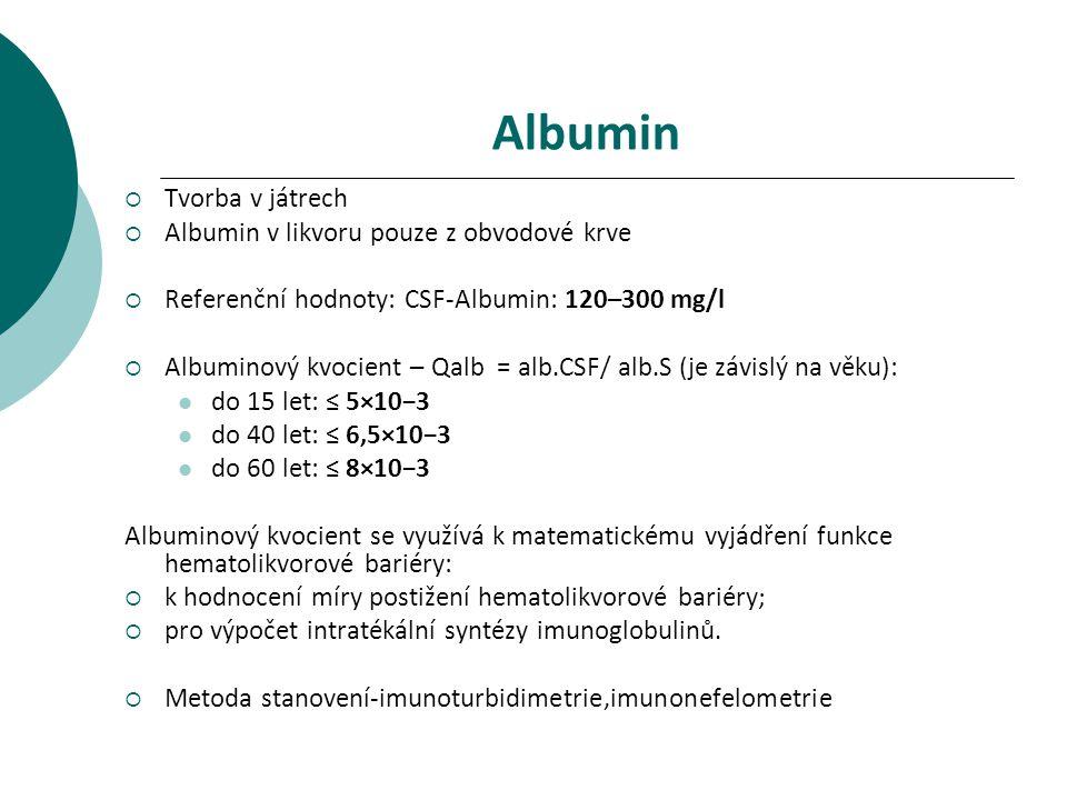 Albumin Tvorba v játrech Albumin v likvoru pouze z obvodové krve