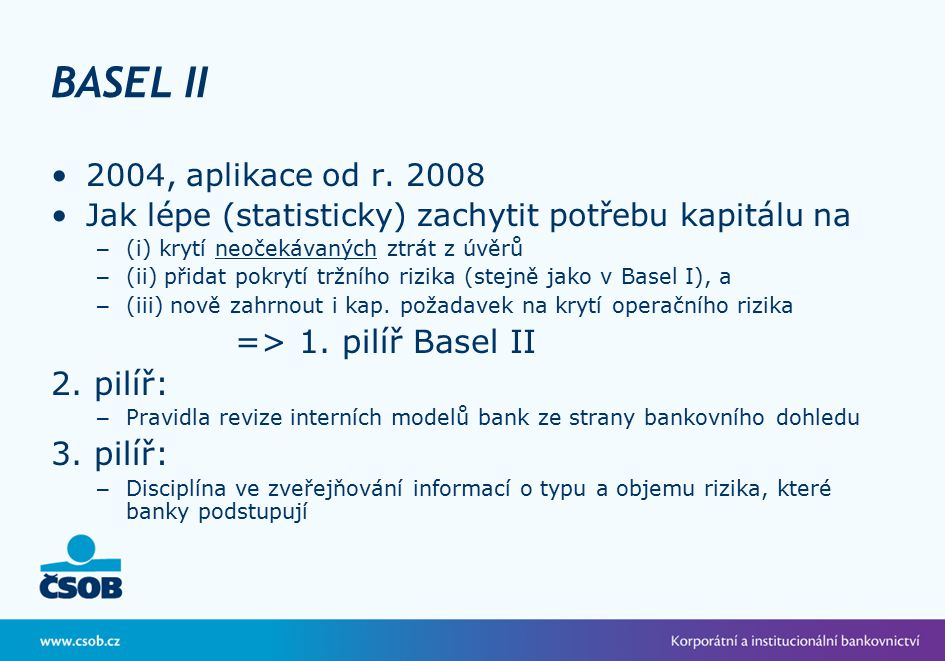 BASEL II => 1. pilíř Basel II 2. pilíř: 3. pilíř: