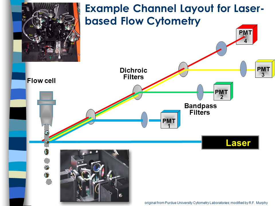 Example Channel Layout for Laser-based Flow Cytometry