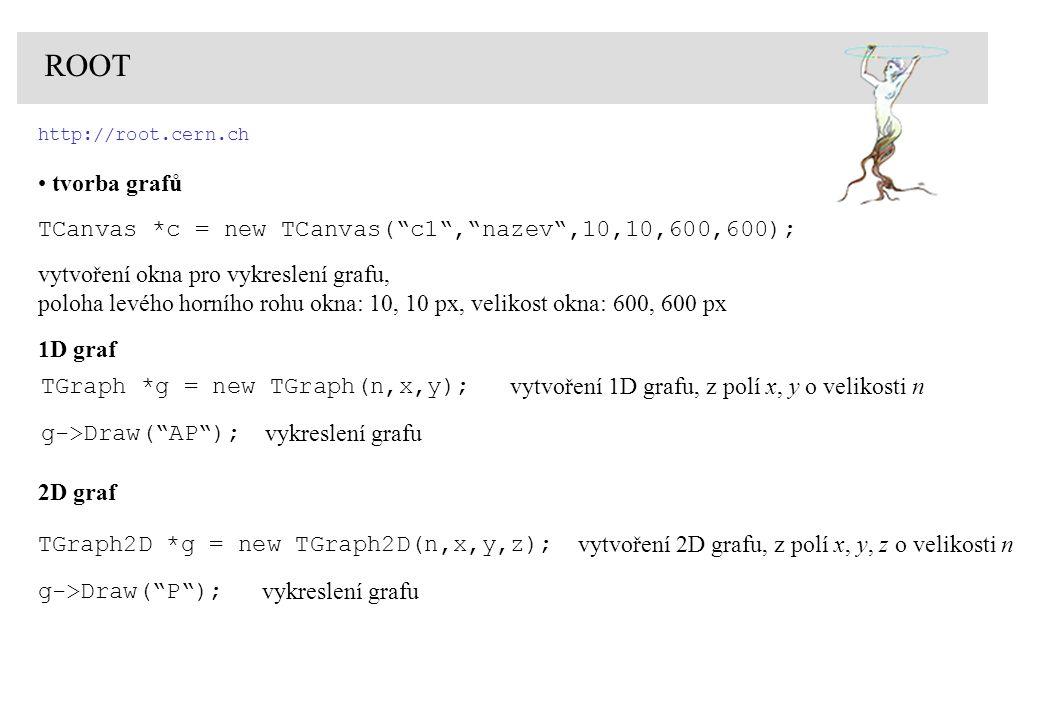 ROOT http://root.cern.ch. tvorba grafů. TCanvas *c = new TCanvas( c1 , nazev ,10,10,600,600); vytvoření okna pro vykreslení grafu,