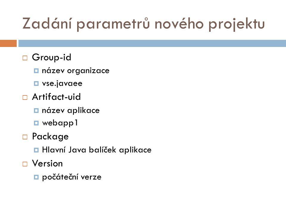 Zadání parametrů nového projektu