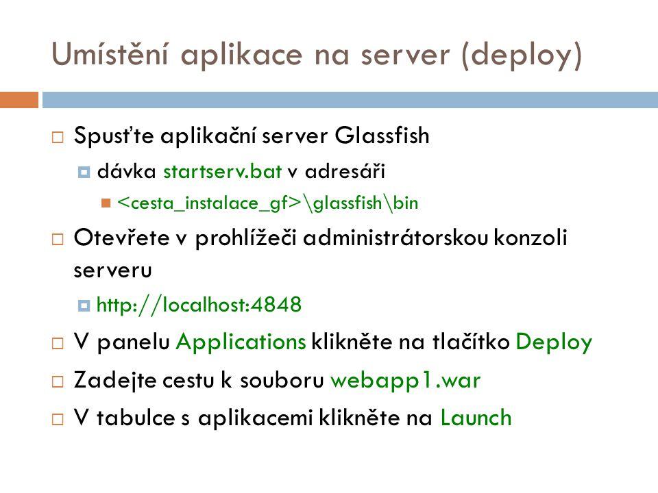 Umístění aplikace na server (deploy)