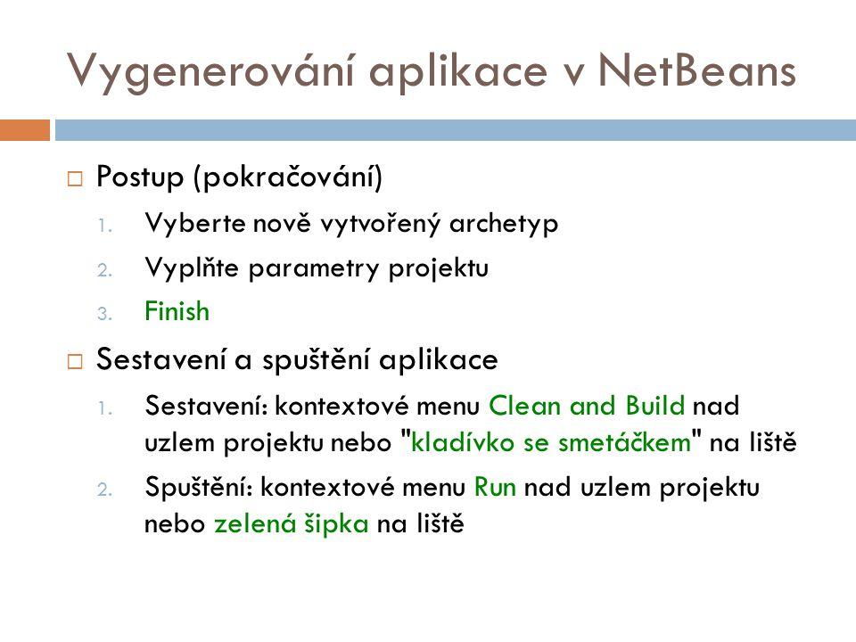 Vygenerování aplikace v NetBeans