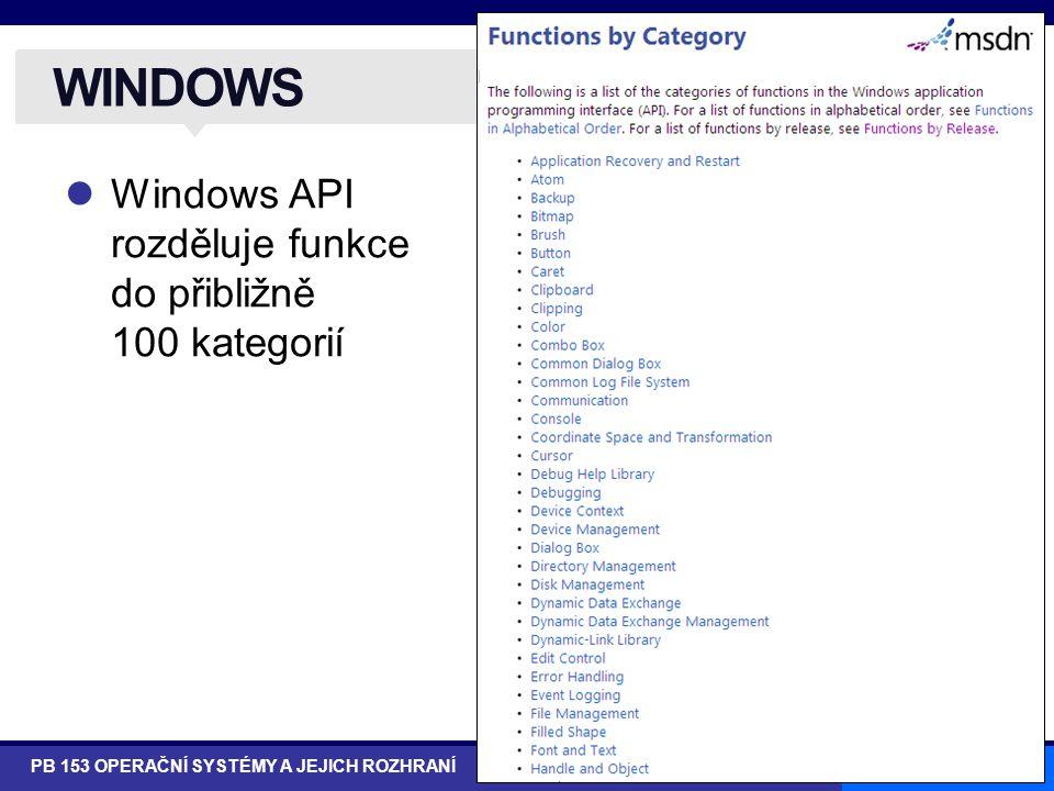 WINDOWS Windows API rozděluje funkce do přibližně 100 kategorií