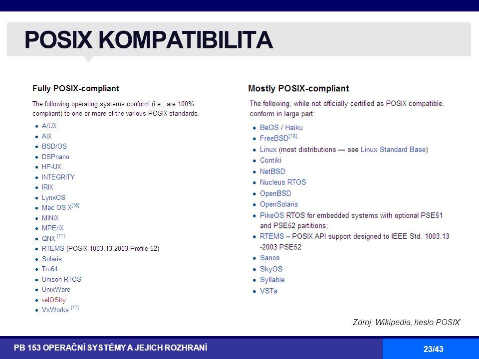 POSIX KOMPATIBILITA Zdroj: Wikipedia, heslo POSIX