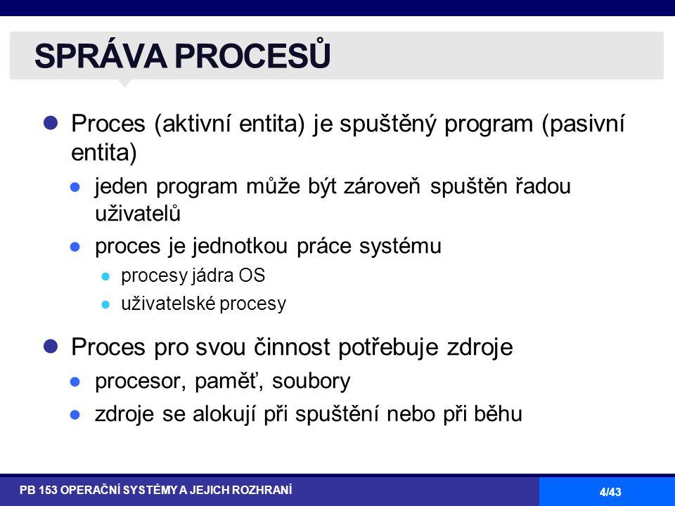 SPRÁVA PROCESŮ Proces (aktivní entita) je spuštěný program (pasivní entita) jeden program může být zároveň spuštěn řadou uživatelů.