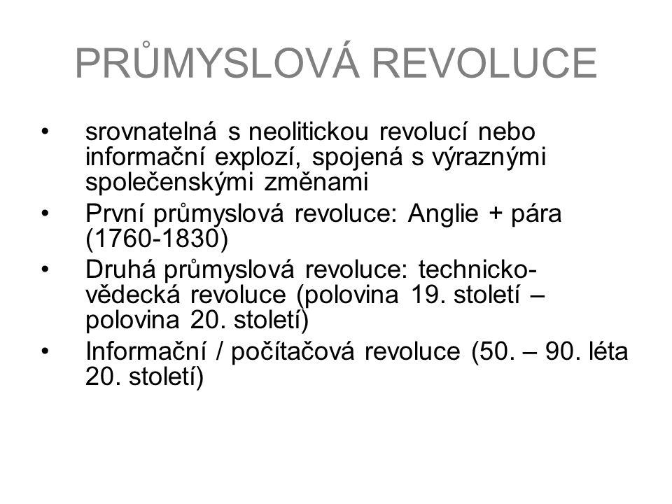 PRŮMYSLOVÁ REVOLUCE srovnatelná s neolitickou revolucí nebo informační explozí, spojená s výraznými společenskými změnami.