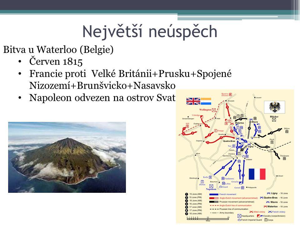 Největší neúspěch Bitva u Waterloo (Belgie) Červen 1815