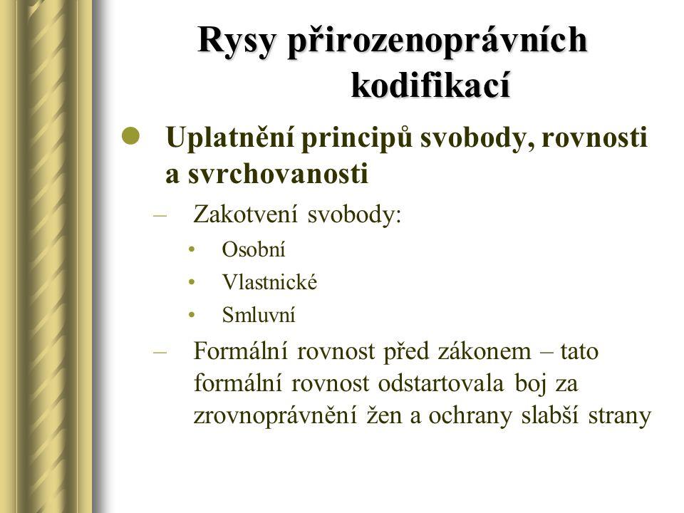 Rysy přirozenoprávních kodifikací