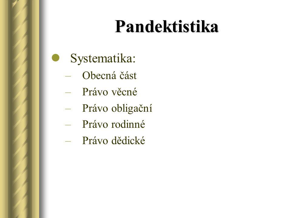 Pandektistika Systematika: Obecná část Právo věcné Právo obligační