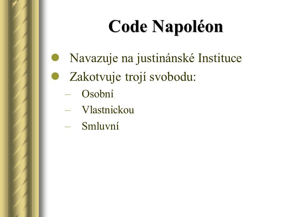 Code Napoléon Navazuje na justinánské Instituce