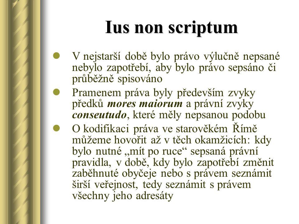 Ius non scriptum V nejstarší době bylo právo výlučně nepsané nebylo zapotřebí, aby bylo právo sepsáno či průběžně spisováno.
