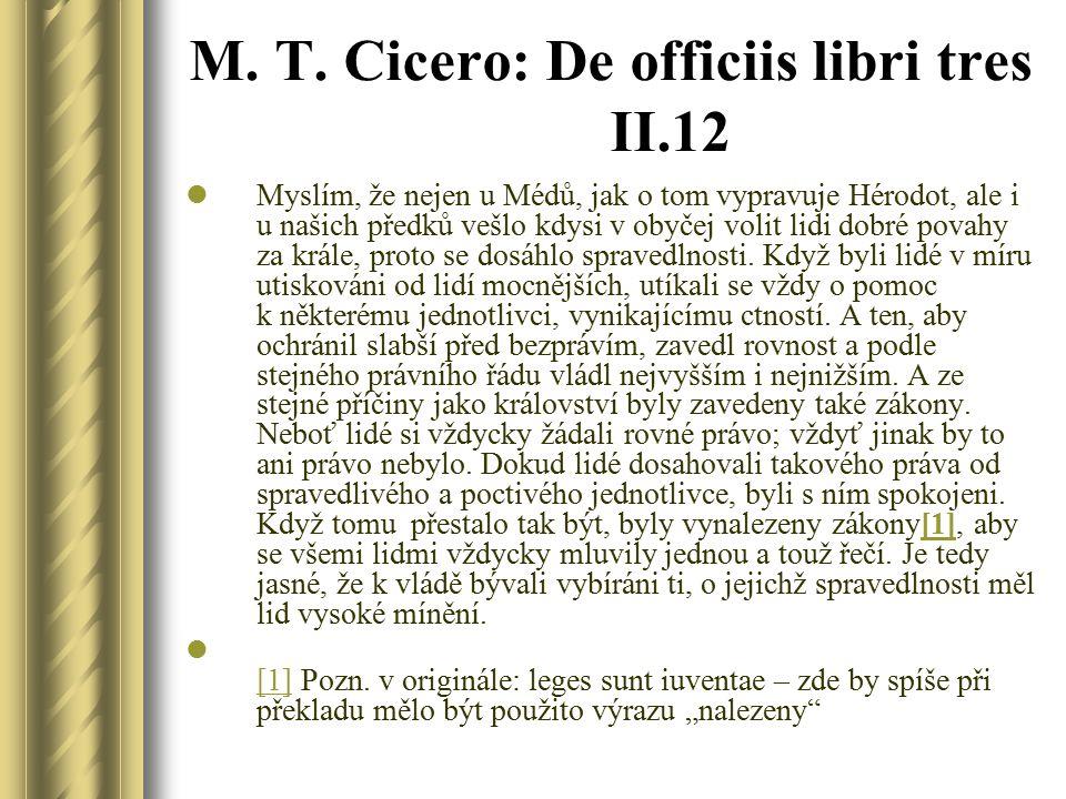 M. T. Cicero: De officiis libri tres II.12