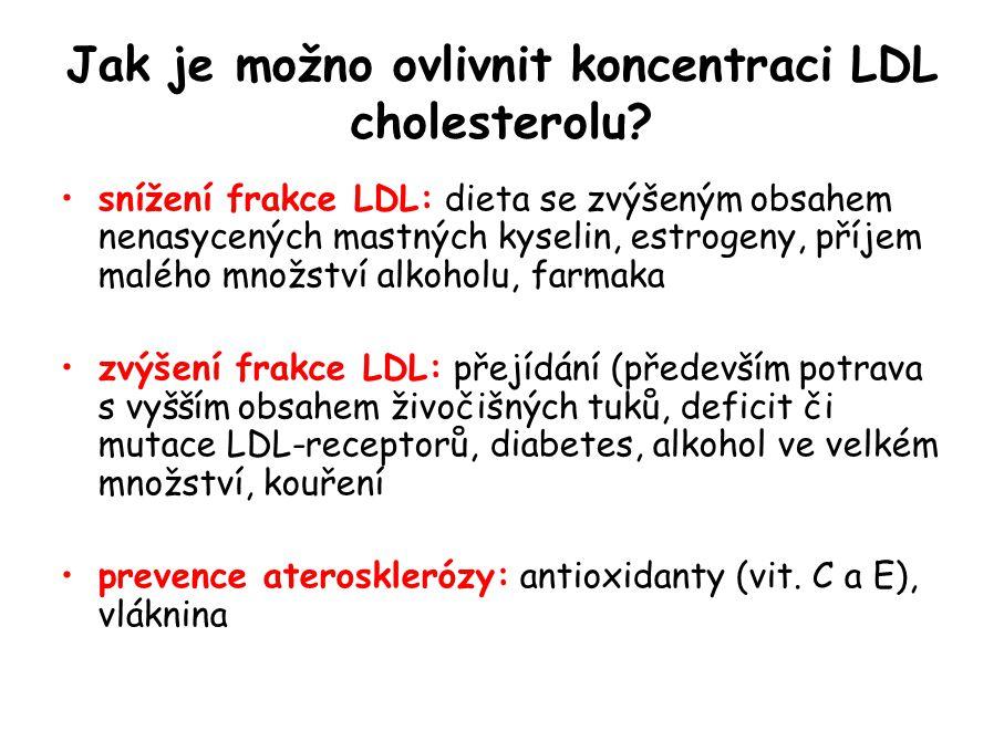 Jak je možno ovlivnit koncentraci LDL cholesterolu