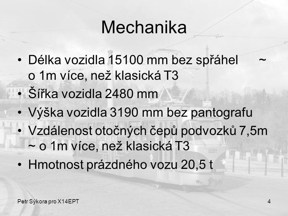 Mechanika Délka vozidla 15100 mm bez spřáhel ~ o 1m více, než klasická T3. Šířka vozidla 2480 mm.
