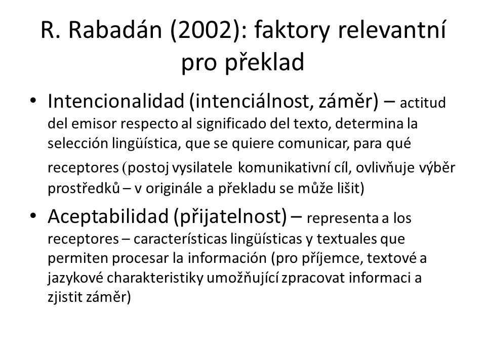 R. Rabadán (2002): faktory relevantní pro překlad
