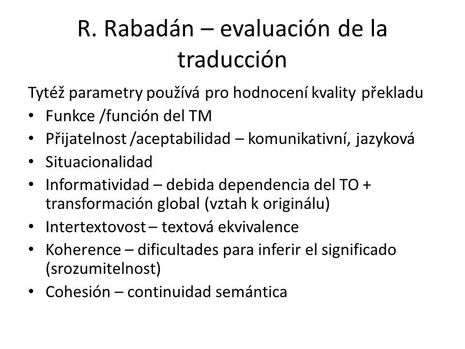 R. Rabadán – evaluación de la traducción