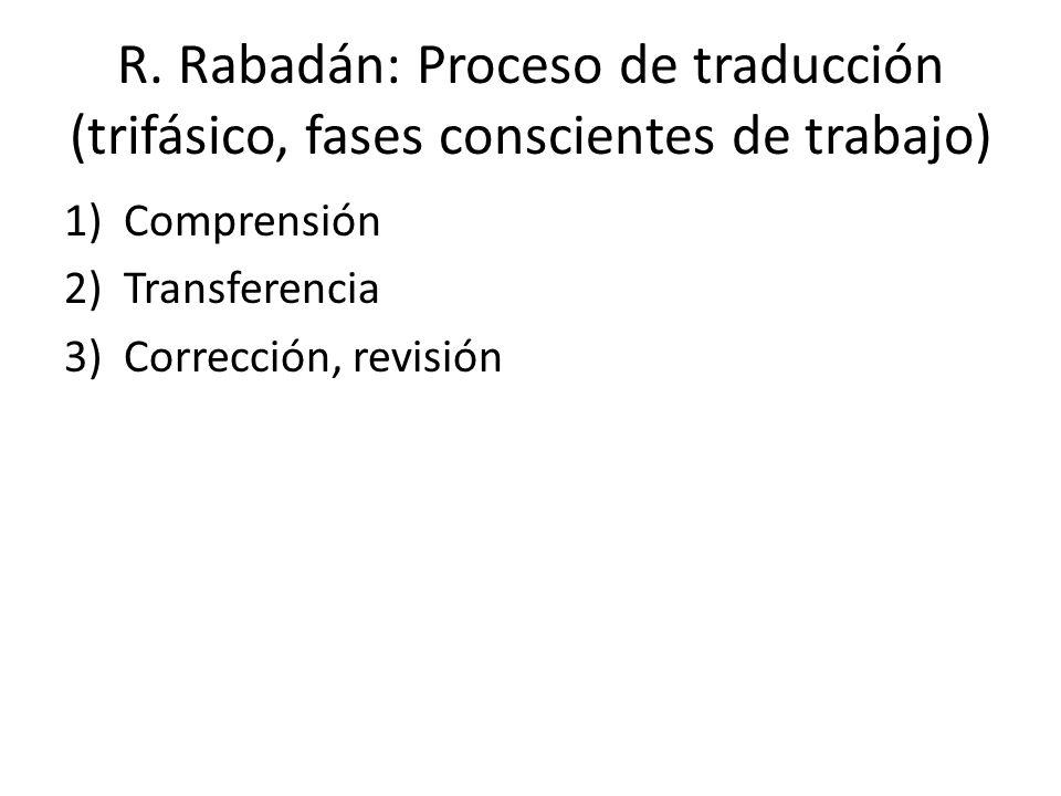 R. Rabadán: Proceso de traducción (trifásico, fases conscientes de trabajo)