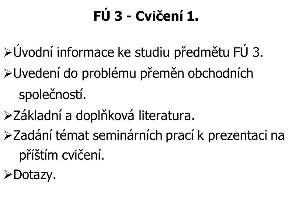 FÚ 3 - Cvičení 1. Úvodní informace ke studiu předmětu FÚ 3. Uvedení do problému přeměn obchodních.